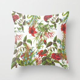 Ruby & Cerulean Floral Throw Pillow