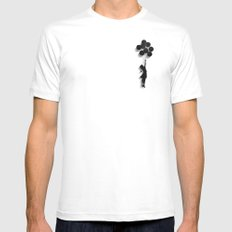 Banksy Fly Away  White Mens Fitted Tee MEDIUM