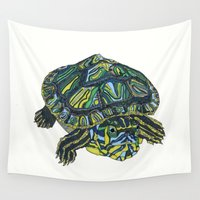 turtle Wall Tapestries featuring Turtle by Aina Serratosa