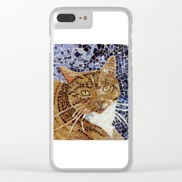 Tiger Cat - Stained Glass Mosaic Clear iPhone Case