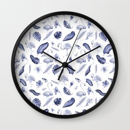 Tropical navy blue white elegant flamingo floral pattern Wall Clock