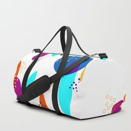 Bohemian colorful shapes pattern on white background Duffle Bag