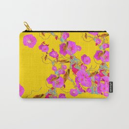 Pink Morning Glories on Gold Art Design Carry-All Pouch