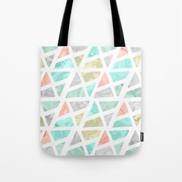 Modern geometrical abstract marble triangles pattern Tote Bag