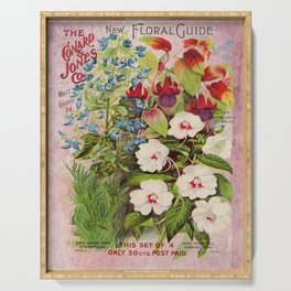 Vintage Flowers Advertisement Collage Serving Tray