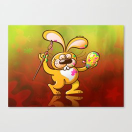 Easter Bunny Painting an Egg Canvas Print