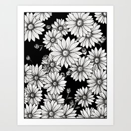 Field of Daisies: Black and White Art Print