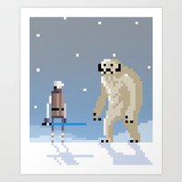 Luke Vs. Wampa Art Print