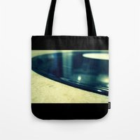 record Tote Bags featuring Record by Derek Fleener