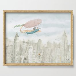 Dirigible over NY city Serving Tray