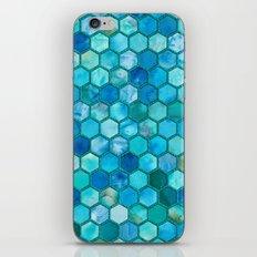 Blue aqua geometric hexagonal elegant & luxury pattern iPhone & iPod Skin
