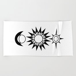The Moon The Sun and The Stars with Zodiac Signs Beach Towel