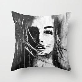 Watercolour Fashion Illustratrion Portrait The Ephemeral Illusion Throw Pillow