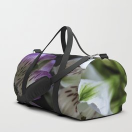 Floral bouquet. Purple and white flowers. Duffle Bag