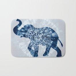 Elephant Mandala Indigo Blue Tie Dye Bath Mat