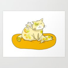 Mother Cat and Kittens Art Print