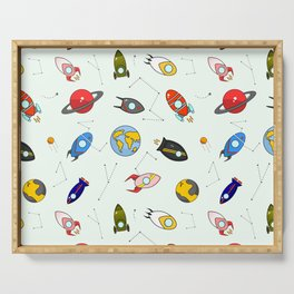 Rockets and planets space print Serving Tray