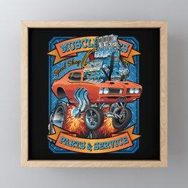 Classic Sixties Muscle Car Parts & Service Cartoon Framed Mini Art Print