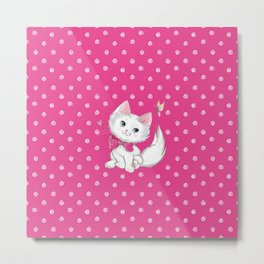 Cute White Kitten with Butterfly on Pink Background Metal Print