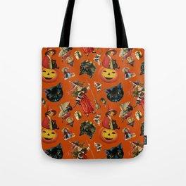 Vintage Black Cat Halloween Toss in Pumpkin Spice Tote Bag