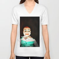 creepy V-neck T-shirts featuring Creepy Dummy by Colleen Farrell