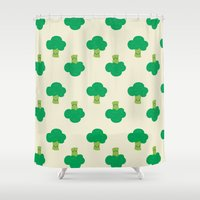 vegetable Shower Curtains featuring VEGETABLE-BROCCOLI! by Claudia Ramos Designs