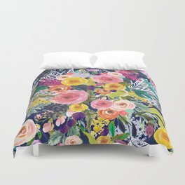 Autumn Blooms Colorful Painted Floral Print // Navy Duvet Cover