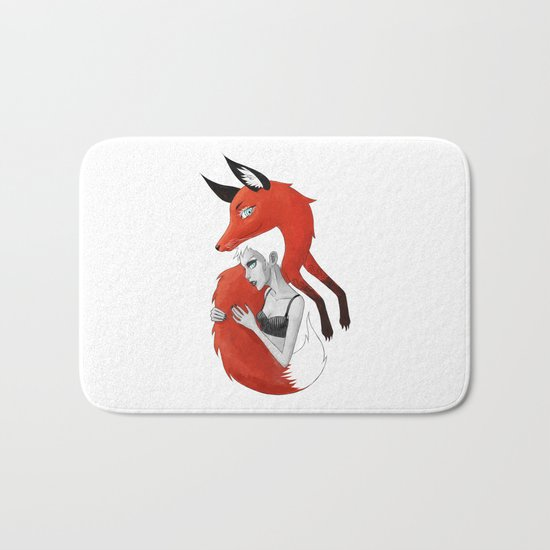 Girl and a Fox Bath Mat