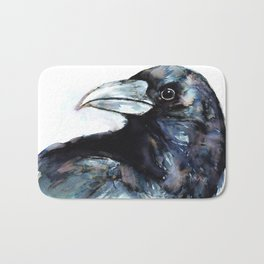 Raven, Watercolor Bath Mat