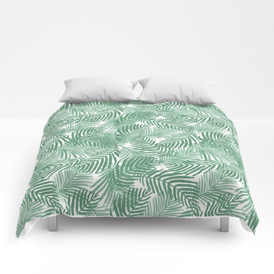 Palm frond tropical vacation green white house plant gender neutral natural organic garden island Comforters