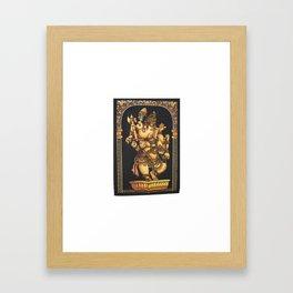 Batik Hindu Elephant God Dancing Ganesha Tapestry  Batik Hindu Elephant God Dancing Ganesha Tapestr Framed Art Print
