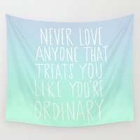 oscar wilde Wall Tapestries featuring Oscar Wilde: Ordinary by Leah Flores