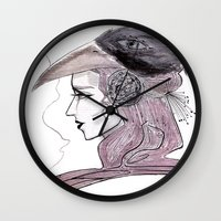headdress Wall Clocks featuring Headdress by Avedon Arcade