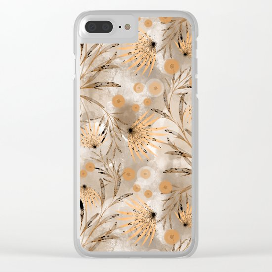 Beige floral pattern. Clear iPhone Case