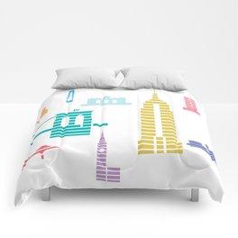 New York Skyline White Comforters