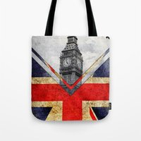 uk Tote Bags featuring Flags - UK by Ale Ibanez
