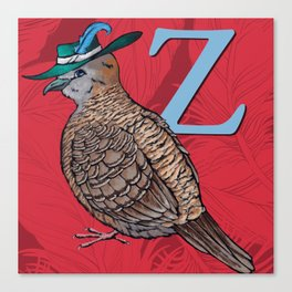 Alphabetical Birds: Z Canvas Print