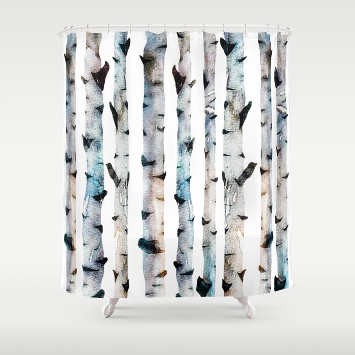 New Birch Trees Forest Shower Curtain