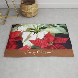 Mixed Color Poinsettias 2 Merry Christmas S1F1 Rug