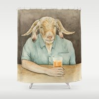 dad Shower Curtains featuring Goat Dad by Corrina Ulrich