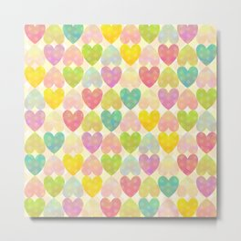 Colorful Sweet Candy Heart Pattern II Metal Print