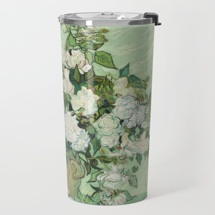 Vase With Pink Roses by Vincent Van Gogh Travel Mug