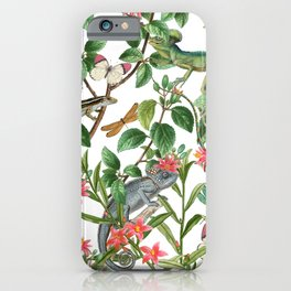 Vintage & Shabby Chic - Iguana And Insects Tropical Animals And Flowers Garden iPhone Case