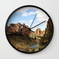 melissa smith Wall Clocks featuring Smith Rock by Sylvia Cook Photography