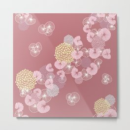 Floral Seamless Pattern on a Rusty Pink Background Metal Print