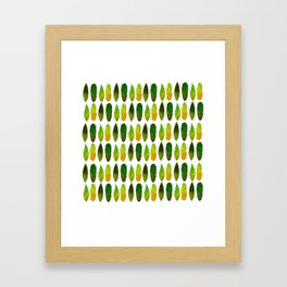 Green-yellow feathers Framed Art Print