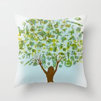 tree of life Throw Pillows featuring Life tree by Michelle Behar