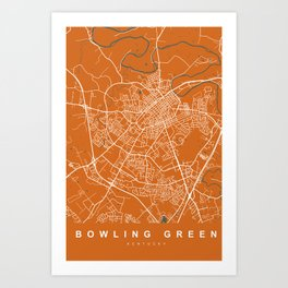Bowling Green Map Kentucky | Orange | More Colors, Review My Collections Art Print