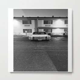 63 Cadillac Night Black and White Metal Print