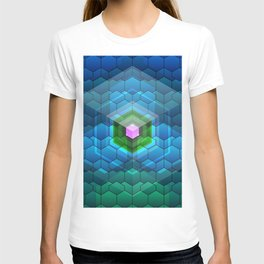Contemporary abstract honeycomb, blue and green graphic grid with geometric shapes T-shirt